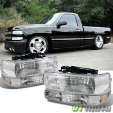99-02 Chevy Silverado 00-06 Tahoe Suburban Headlights+Bumper Lights Left+Right