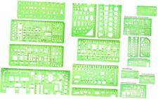 9 Pieces Geometric Drawing Templates Clear Green Building Formwork Stencils