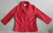 Petite Ladies Red Blouse Button Front Size PS 3/4 Sleeve - Como-