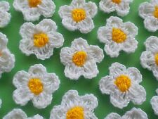 50! 2-Colour Wool Crochet Flowers - Soft White & Golden Yellow Daisy Flower!