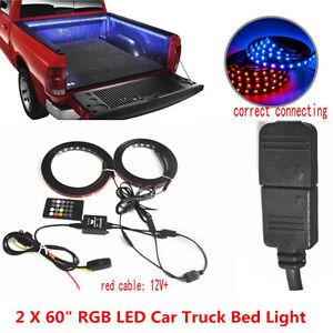 "2x60"" RGB LED Car Truck Bed Light Strip Waterproof Neon Glow Lamp Remote Control"