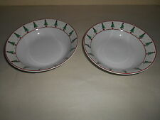 4 SAKURA Debbie Mumm MAGIC OF SANTA Dinner Bowls Christmas Trees