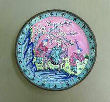 CHINE, A VOIR ! BELLE COUPELLE VIDE POCHE du XIXème, EMAUX de CANTON sur CUIVRE