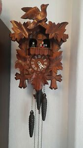 German cuckoo clock black forest 1 day wood carving musical cuckoo clock vgc