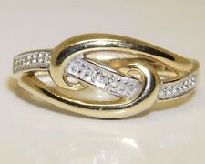 9CT  DIAMOND ETERNITY RING  9 CARAT YELLOW GOLD CROSSOVER SCROLL DESIGN Size L