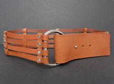 BANANA REPUBLIC tan saddle leather belt, silver buckle, boho-chic, M, unworn VTG