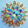 Glamorous 3D SUN BURST Flower REGAL Rhinestone AB CLEAR Retro Vintage Brooch