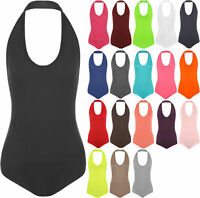 Womens Plain Halter Neck Sleeveless Ladies Stretch Leotard Top Bodysuit 8-14