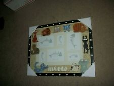Lot Of 3:  Cat Portrait Collage Frame & 2 Ceramic Cat Dishes.New !