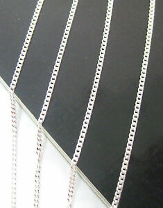 """MADE IN ITALY 925 sterling silver """"1.5mm CURB"""" CHAIN 35cm to 60cm -KID BABY GIRL"""