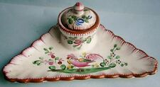 Hand Painted Faïence Inkwell probably from the 19th Century and of French Origin