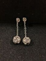 Vintage Patented Silver Tone Crystal Ball Drop Clip Earrings 13040