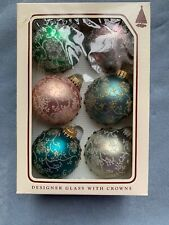 Vintage Krebs Glass Glitter Ball Christmas Ornaments Lot of 6 Balls