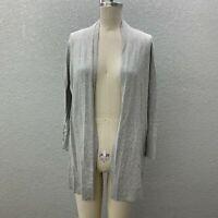 Cyrus Cardigan Sweater Women's L Gray Knit Lightweight Open Front Long Sleeve