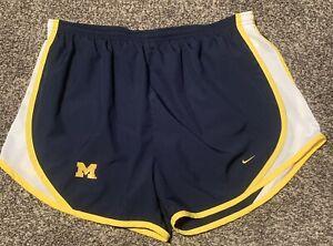 Women's Nike Michigan Wolverines Running Shorts Blue NikeFit XL EUC 16-18
