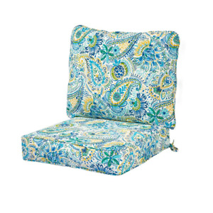 Lounge Chair Cushion Set UV/Water Resistant Reversible Attached Ties Polyester