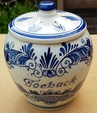 Delft blue Holland Tobacco Jar Urn Pot w/lid Toeback Vintage HandPainted 16 cm H