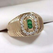 Men's Colombian Emerald & Diamond Octagonal Ring 14K Yellow Gold - Size 9 3/4