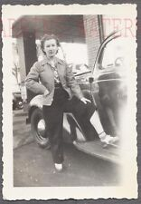Vintage Car Photo Pretty Girl w/ Automobile 713790