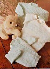 Bebé/niña/niño Vintage Tejer patrón Jumper/Suéter Cardigan/41-56 cm dk L1017