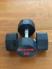 BRAND NEW 25LB PAIR OF RUBBER  HEX DUMBBELLS WEIGHTS