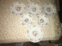 6 VTG Noritake Pink Rose Flower Gold Trim White China Dinner Plates & Soup Bowls