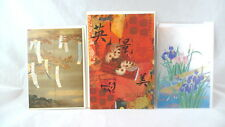 3 ASIAN INSPIRED Greeting Cards IN PLASTIC WRAP Blank Happiness Courage Grace