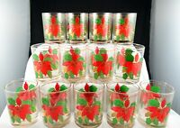 Vintage Culver Poinsettia Double Old Fashioned Low Ball Glasses- Set of 13