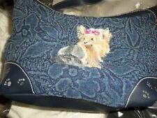 New~Yorkie~ Yorkshire Terrier w/bow~Hand Painted Blue Fabric Purse Handbag~