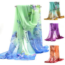 KE_ HK- Womens Ladies Amazing Long Chiffon Stole Scrawl Flower Printed Wrap So
