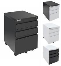 3 Drawer Rolling Mobile File Cabinet Lock Storage Steel Metal Office Home