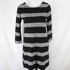 J Crew Dress Sz XS Black Gray Stripe Cotton Knit 3/4 Sleeve Tunic