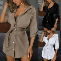Women Summer Button Mini Shirt Dress Ladies Casual Loose Long Sleeve Blouse Tops