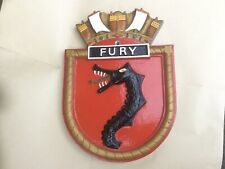 More details for vintage hand painted alloy/metal royal navy wall plaque - hms fury