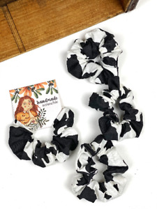 Cow Pony Print Hair Scrunchies 100% Cotton Elastic Hairband Ponytail Holder