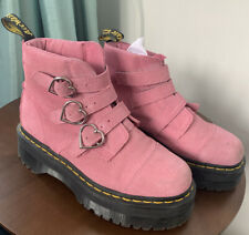 Dr Martens X Lazy Oaf Size 4 Heart Buckle Pink Suede Platform Chunky Boots Rare