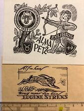 """Exlibris, bookplate, 2Stück, monogrammiert, Hochdruck, """"Jagd / hunting"""""""