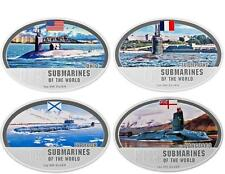 Fiji 2010 $2 Submarines of the World Typhoon Ohio 4 x 1 Oz Silver Proof Coin Set