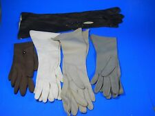Lot of 5 Opera Gloves vintage size 7 Leather Nylon Cresendoe black brown beige