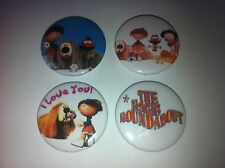 4 The Magic Roundabout button badges 25mm cult retro 80s 90s kids TV UK USA