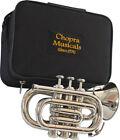 Pocket Trumpet 3V 100% Brass Chopra Make Nickel Plated with Mouth Piece +Case 01