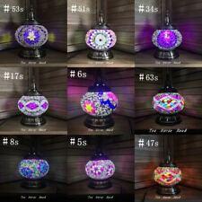 Turkish Lamp PURPLE PINK Glass Lamp Mosaic Light Handmade Brass Free LED