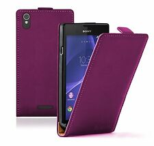 Ultra Slim VIOLET Leather Flip Case Cover Pouch For Sony Xperia T3 experia