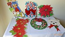 Vintage Christmas Cardboard Cut Outs Bonus Gift Trims Seals 1967 Set of 9