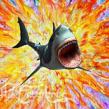NIK TOD ORIGINAL PAINTING LARGE SIGNED ART RARE OIL COLORS SHARK JAWS AMAZING UK