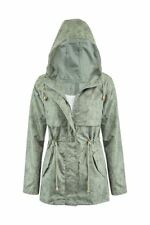 Womens Lightweight Khaki Plus Size Printed Fishtail Rain Parka Coat Jacket Floral UK 10