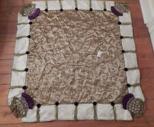 NEW MACKENZIE-CHILDS JEWELED THISTLE ELEGANT BEADED TABLE TOPPER TABLECLOTH XMAS