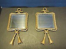 Set 2 Hollywood Regency wall metal rope frame beveled mirrors tassels Vintage