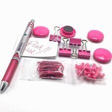 Lot Pink Desk Items Pentel EnerGel Retractable Pen .7mm Magnets Clip Tack Pins