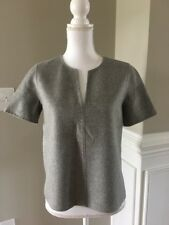 New J Crew Collection Double-faced Cashmere Top Heather Dove Gray Sz 4 E1406